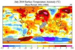 NASA опубликовало глобальную температурную карту