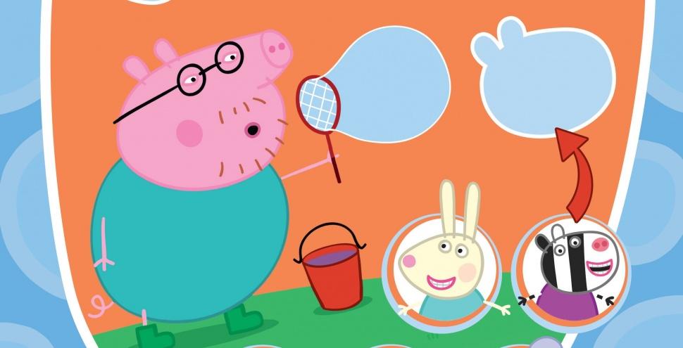 Татко Свин надуває мильні бульбашки